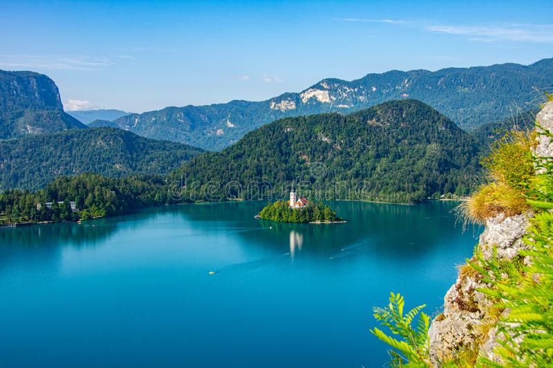 View to the Church on lake Bled island from the Bled castle royalty free stock images