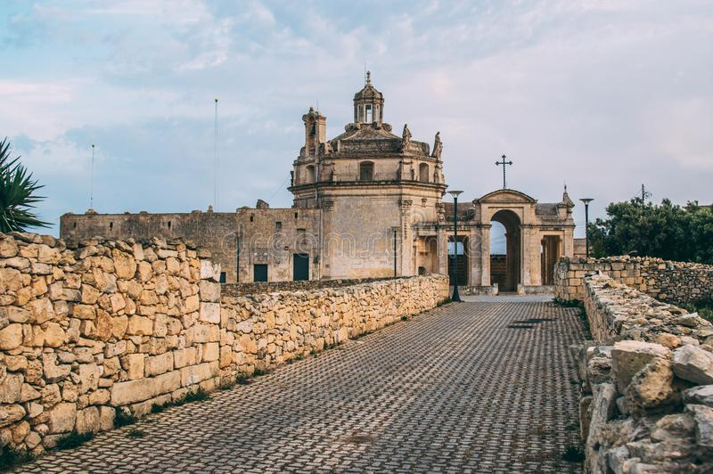 View to Church of Our Lady of Divine Providence. Malta royalty free stock photo