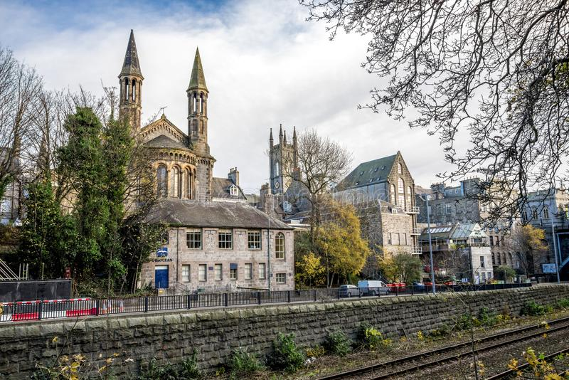 A view to Denburn Road and scenic gothic architecture of Aberdeen city centre from Union Terrace Gardens, Scotland stock image