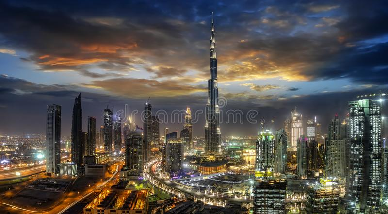 View to Dubai Business Bay just after sunset, UAE royalty free stock photography