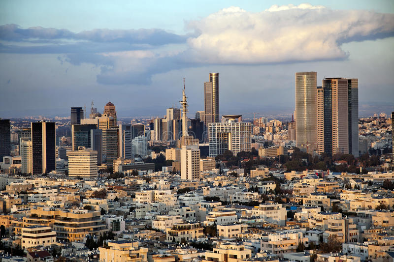 Downtown Tel-Aviv Skyline Stock Photos