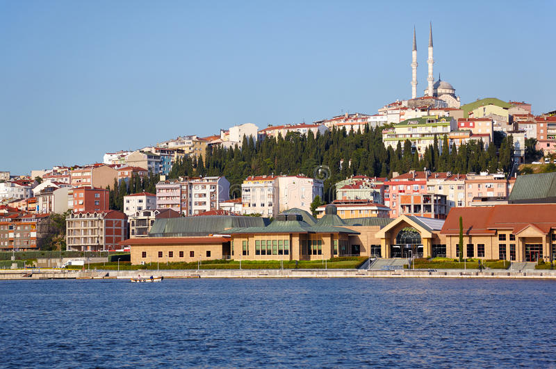 The view to the eastern bank of Golden Horn, Istanbul stock photography