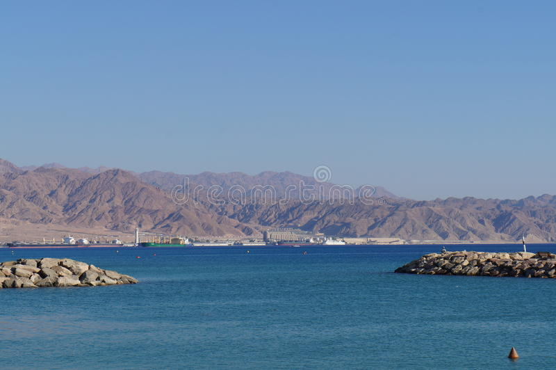 View to Eilat gulf and Aqaba. From Eilat, Israel stock photos