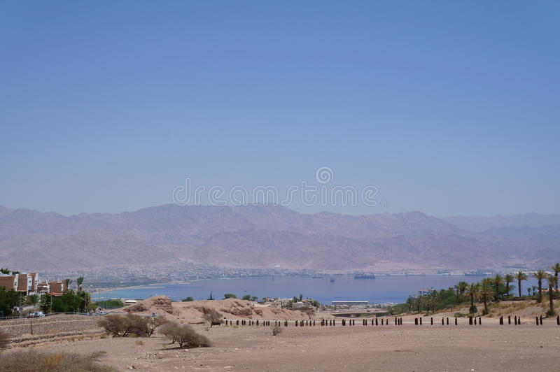 View to the Eilat gulf and Aqaba. From wadi Shahamon, Eilat, Israel stock photography