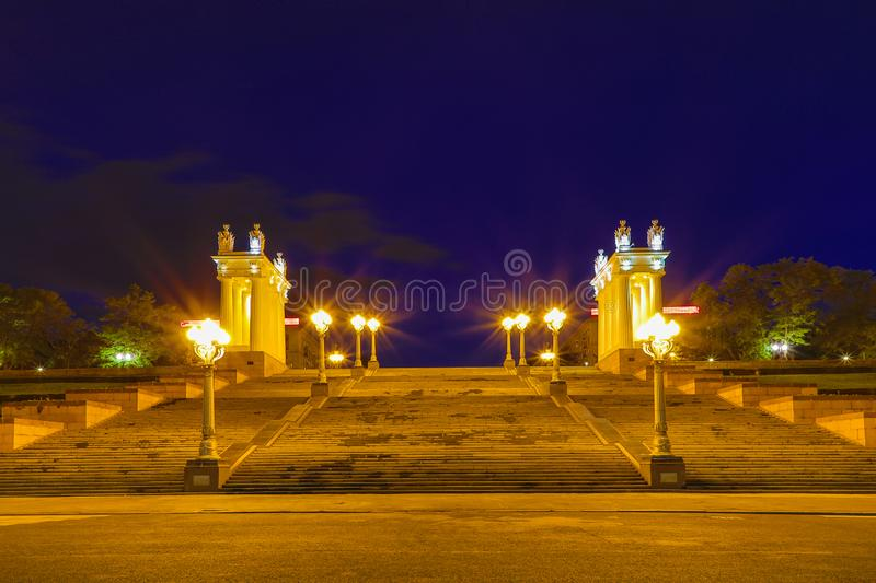 View to the embankment of city-hero Volgograd with the central starecase in the summer night royalty free stock image