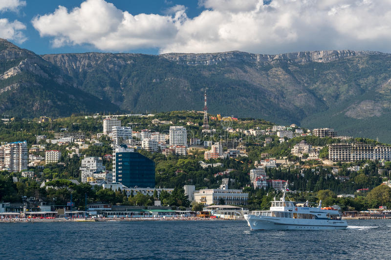 View to the embankment of Yalta from the sea. View of the embankment of Yalta from the sea, Crimea stock images