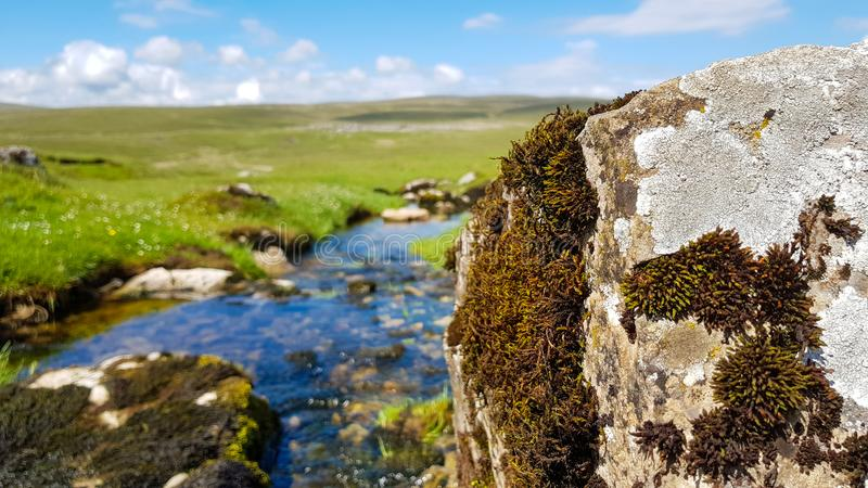 A view to English landscape with blurred backspace with brook stones under blue sky and clouds.  stock images