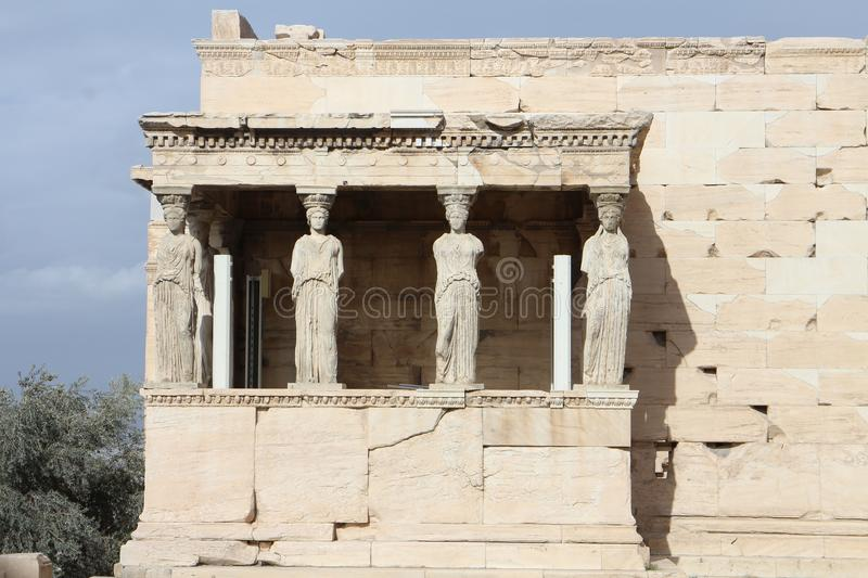 View to Erechtheum Temple with Porch of the Caryatids, Acropolis, Athens royalty free stock photo
