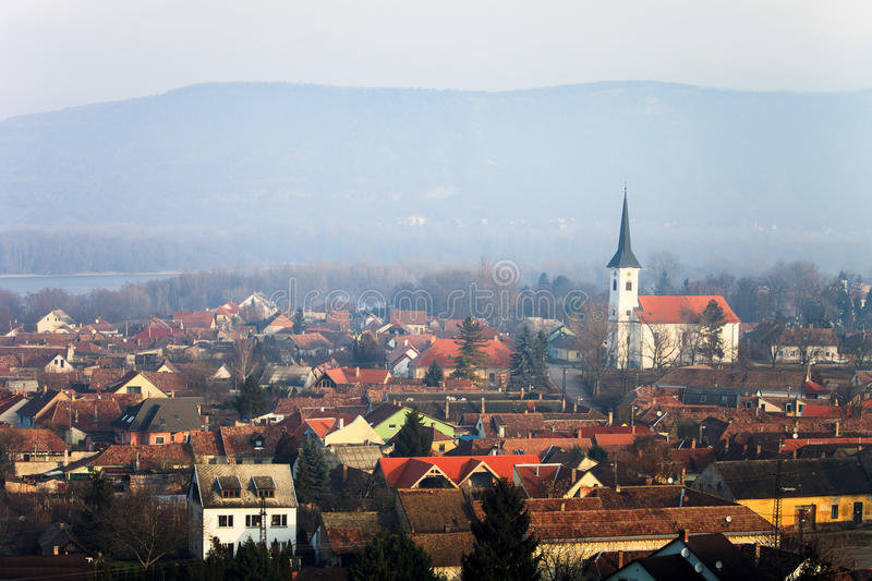 View to Esztergom and mountains. Hungary landscape royalty free stock image