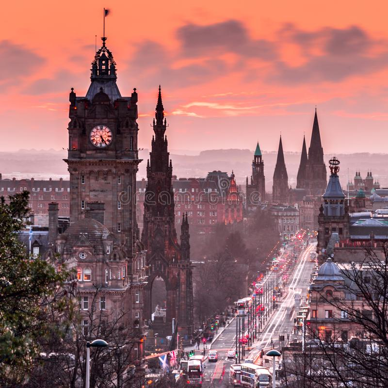 View to evening Princes Street from Calton hill in Edinburgh, Scotland royalty free stock image