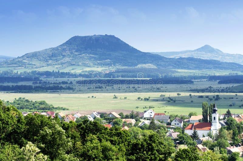 View to extinct volcanoes at Lake Balaton highlands. Hungary royalty free stock images