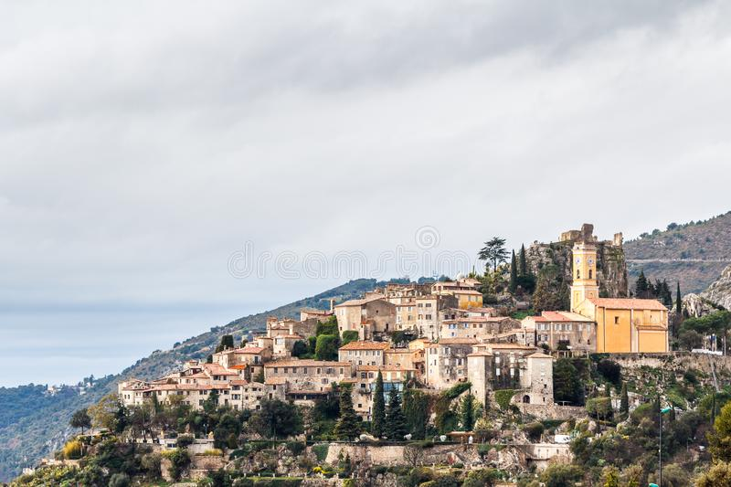 View to Eze medieval village, Provence royalty free stock photo