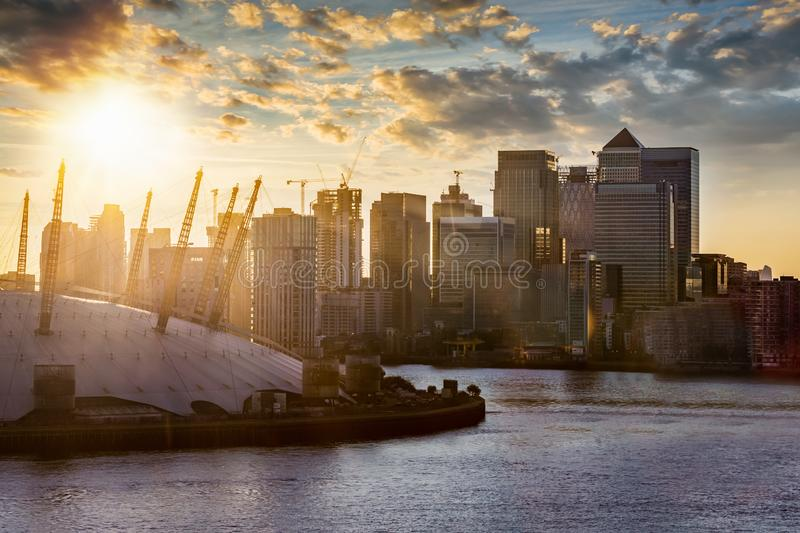 View to the financial district of London, Canary Wharf, United Kingdom. View to the financial district of London, Canary Wharf, over the Thames river during royalty free stock photography