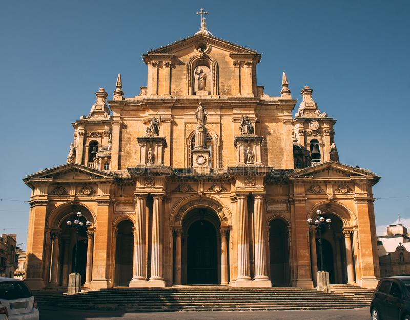 View to Church of St Nicholas in Siggiewi, Malta. View to front of Church of St Nicholas in Siggiewi, Malta stock images