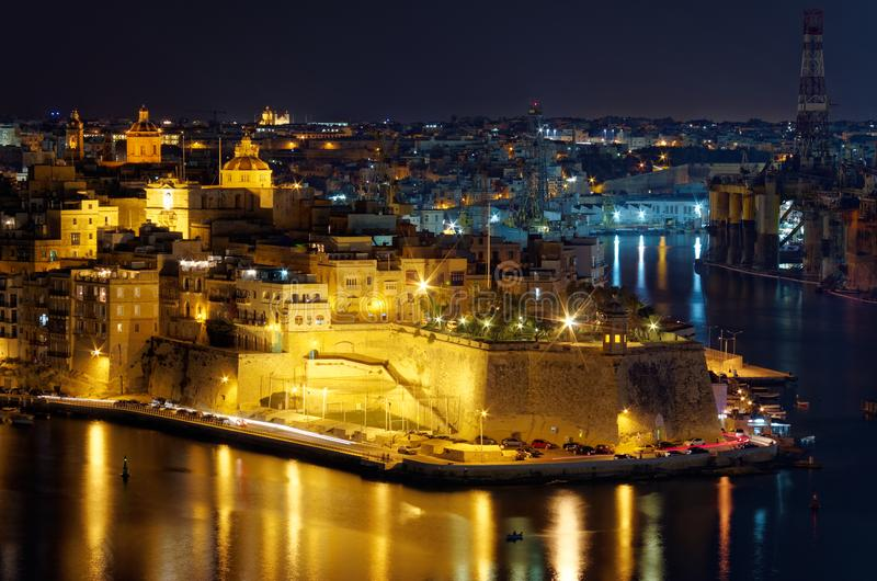 View to Grand Harbor at night, Valletta, Malta. View to Grand Harbor from Upper Barrakka Gardens at night, Valletta, Malta royalty free stock photography