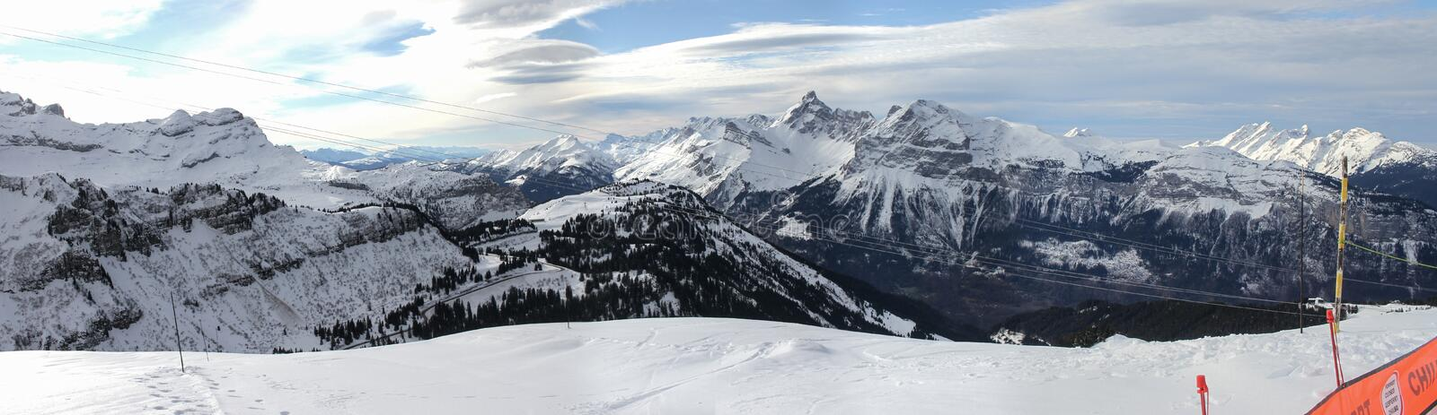 View to Grandes Jorasses Mountain Range from Samoens Tetes Des Saix 2118m. Panorama view on the Grand Massif above Samoens village in the French Alps stock image