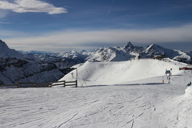 View to Grandes Jorasses Mountain Range from Samoens Tetes Des Saix 2118m. View from the ski run towards Les Carroz in the Grand Massif above Samoens village royalty free stock photography