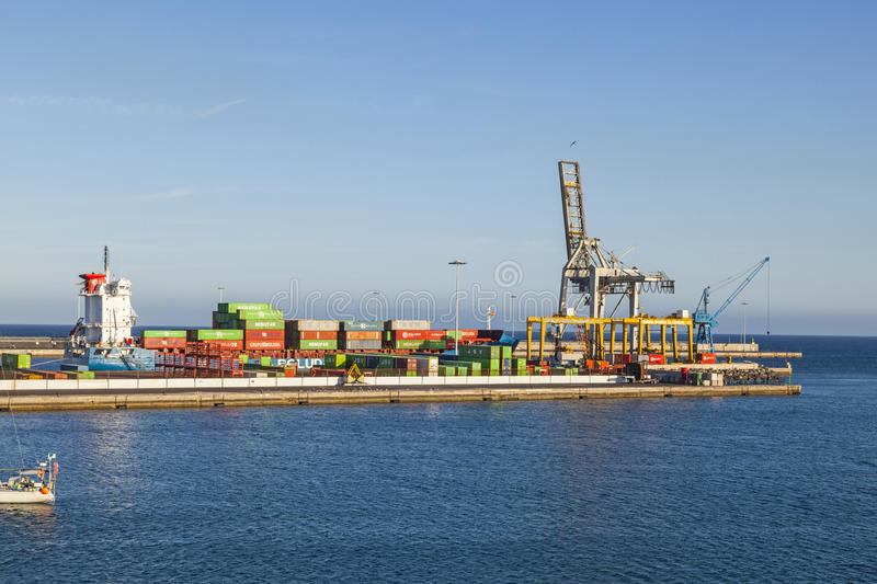 View to harbor of Puerto Naos in Arrecife, Spain royalty free stock photography