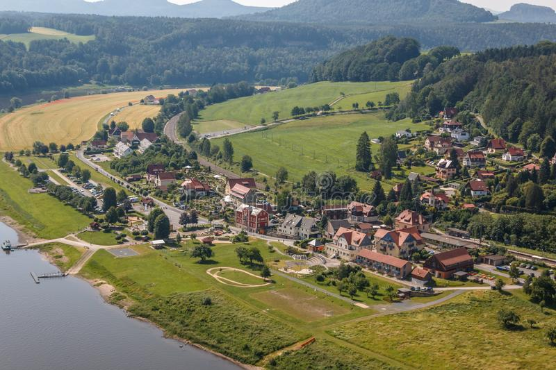 View to the health resort Rathen in the Elbe sandstone mountains. Germany stock photos