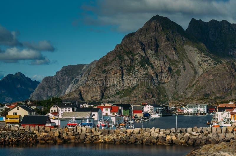 View to Henningsvaer, Lofoten Islands, Norway royalty free stock photo