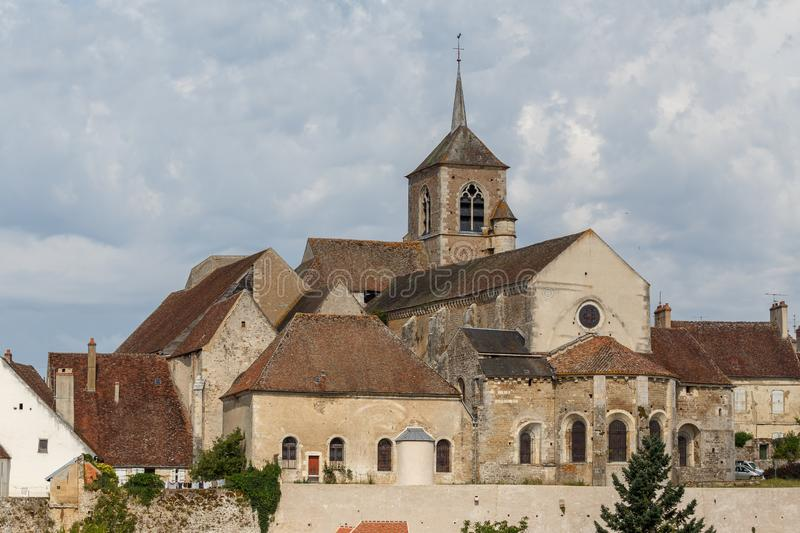 View to the historic centre of Avallon town. France stock photo