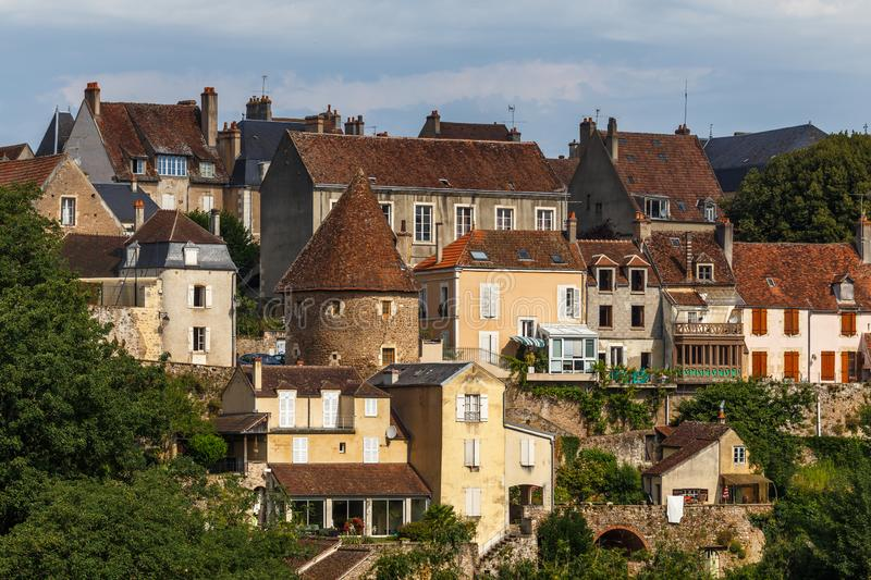 View to the historic centre of Avallon town. France stock photography