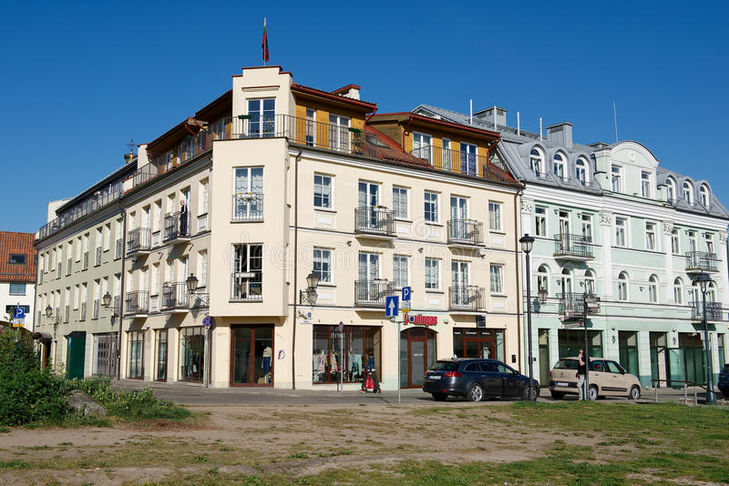 View to the historical building of Barbacan apartments hotel in downtown Vilnius, Lithuania. royalty free stock photography