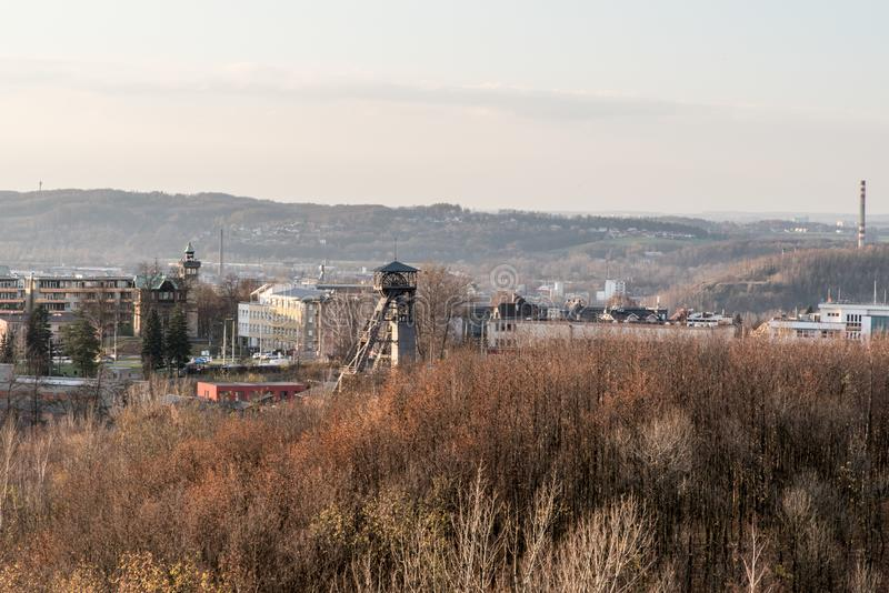 View to Hladnov from Halda Ema hill in Ostrava city in Czech republic. During autumn afternoon royalty free stock images