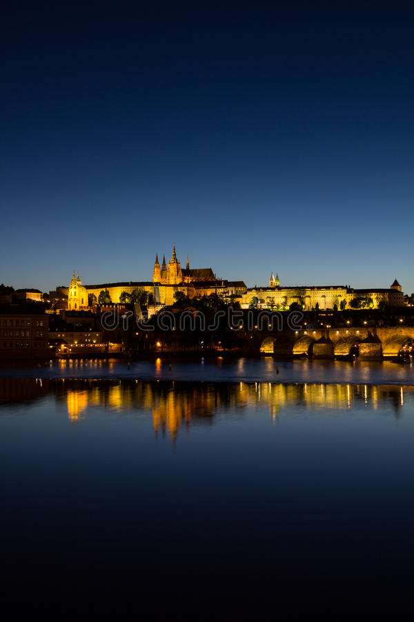View To Hradschin Castle, St. Vitus Cathedral And Charles Bridge In Prague By Night royalty free stock image