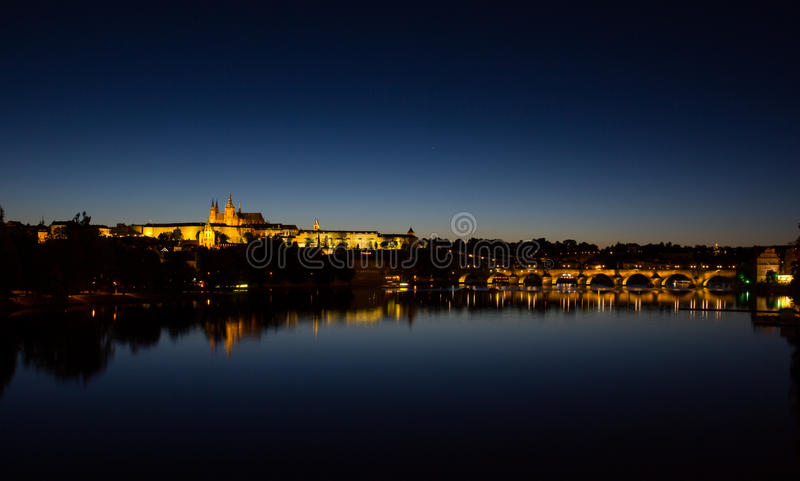 View To Hradschin Castle, St. Vitus Cathedral And Charles Bridge In Prague By Night royalty free stock photos