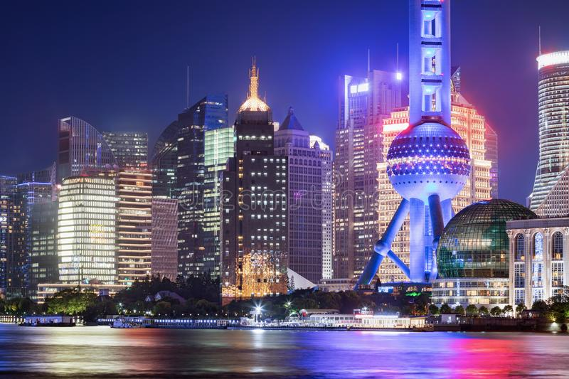 View to the illuminated office buildings in Pudong district, Shanghai, China royalty free stock images