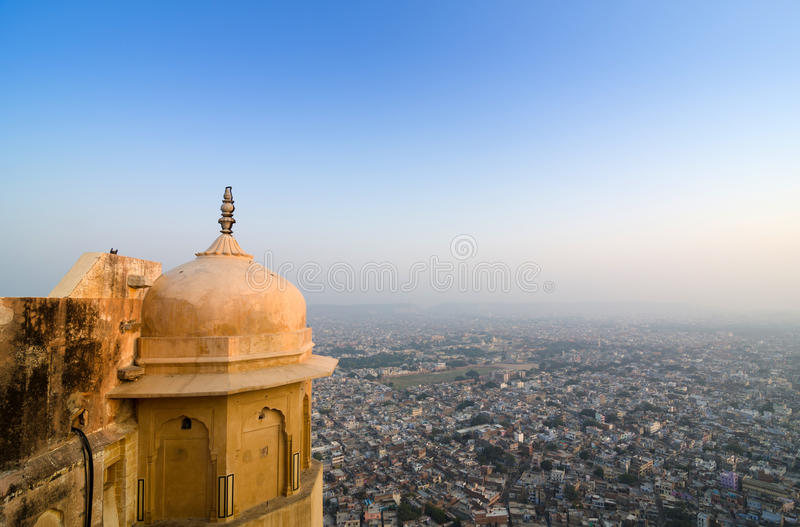 View to Jaipur city from Nahargarh fort stock images