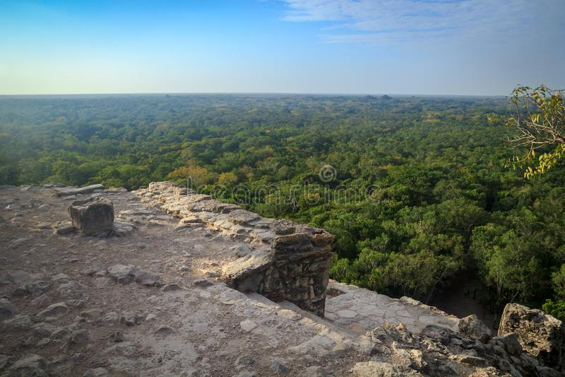 View from the top of Nohoch Mul pyramid in Coba royalty free stock photography
