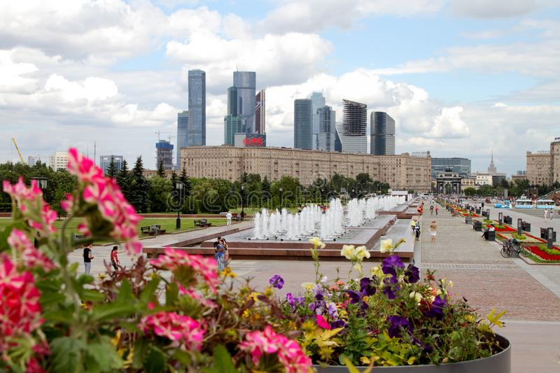 View to Kutuzov avenue and Moscow City Complex from Poklonnaya G royalty free stock photo