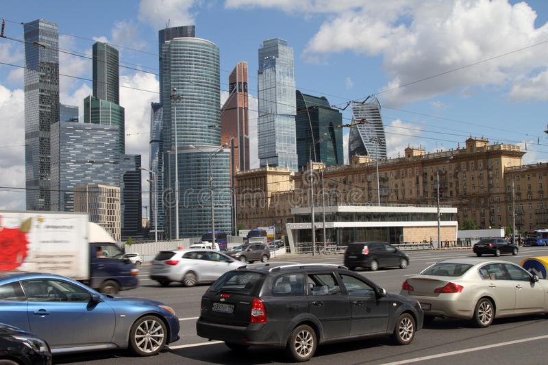 View to Kutuzov avenue and Moscow City Complex. royalty free stock photography