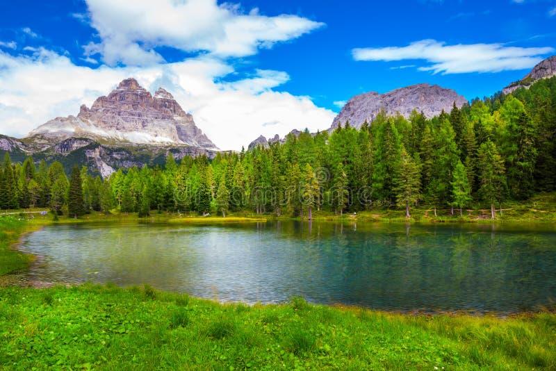 View to Lago Antorno and The Tre Cime di Lavaredo in Dolomites, stock photography