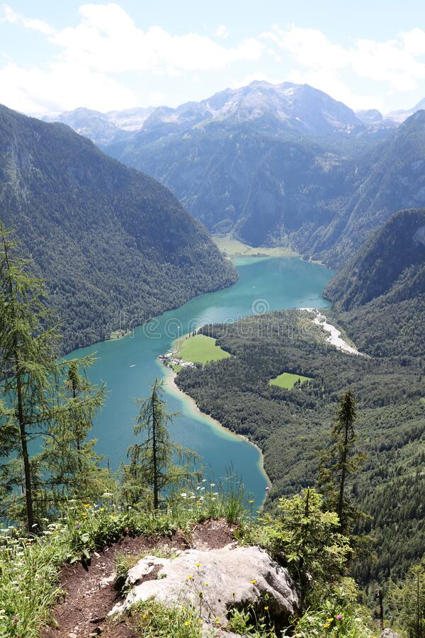 View to Lake Königssee and St Bartholomae. National Park Berchtesgaden Land. Germany stock photos
