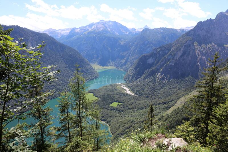 View to Lake Königssee and St Bartholomae. National Park Berchtesgaden Land. Germany royalty free stock photos