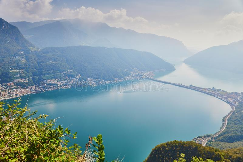 View to lake Lugano from San Salvatore mountain in Lugano, Switzerland royalty free stock images