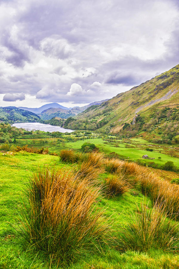 View to lake in Snowdonia National Park in North Wales stock images