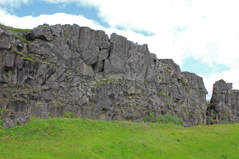 View to a lava wall at the thingvellir national park stock image