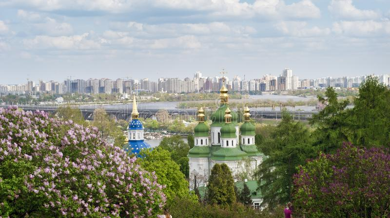 View to the left bank of the Kiev city stock photography