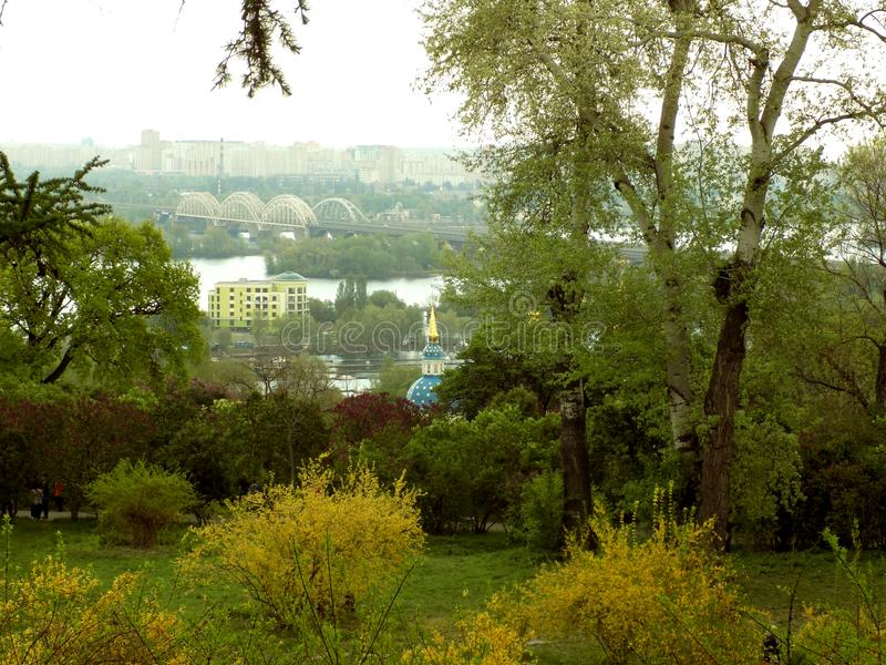 View to the left bank in Kiev royalty free stock images