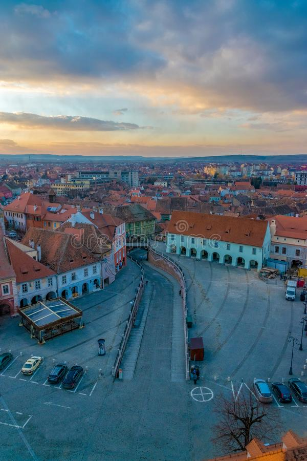 View to the Little Square and the city of Sibiu, Romania royalty free stock image