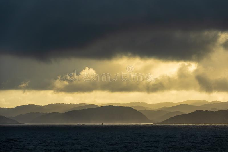View to the Lyngdalsfjord with sunset in Norway.  stock image