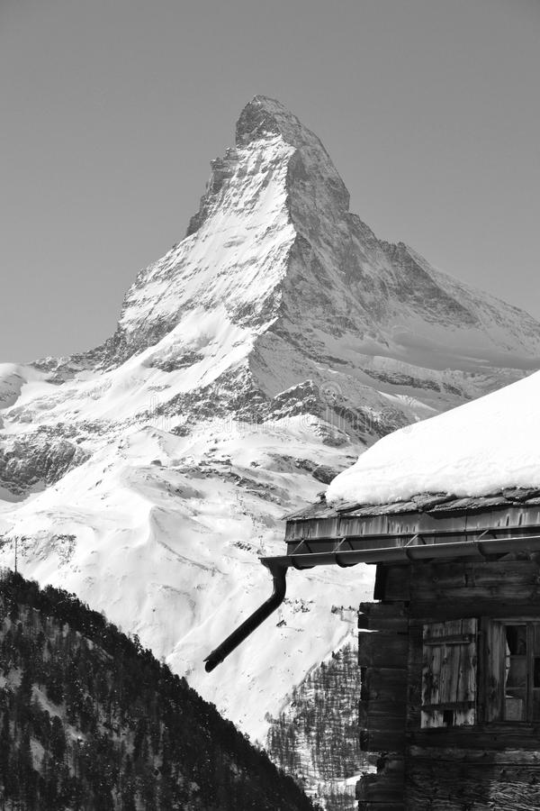 View to the Matterhorn in winter royalty free stock photo