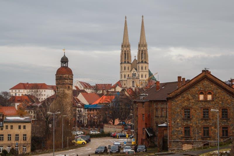 View to the medeival town Gorlitz & x28;Goerlitz& x29; in the evening stock photo