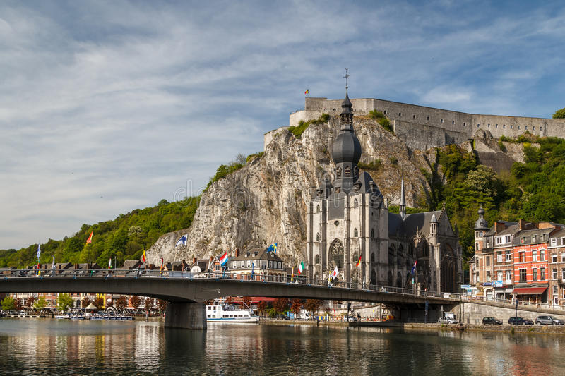 A view to the medieval town Dinant stock photos