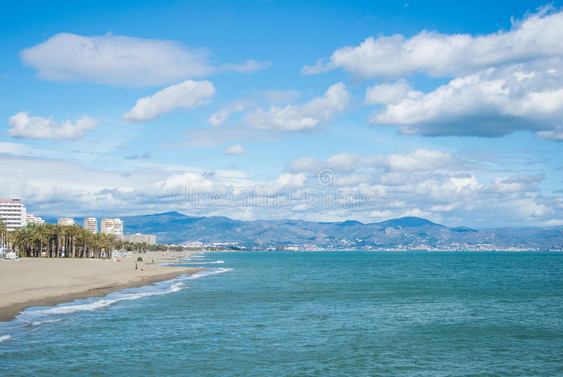 A view to Mediterranean sea and Torremolinos beaches with mountains on the background stock photos