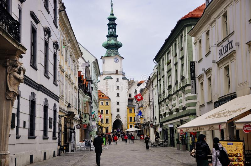 View to Michael`s Gate in the old town Bratislava, Slovakia. stock photo